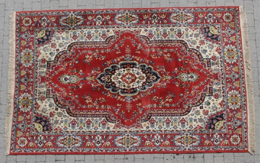 Oriental Design Red Rug with Medallion