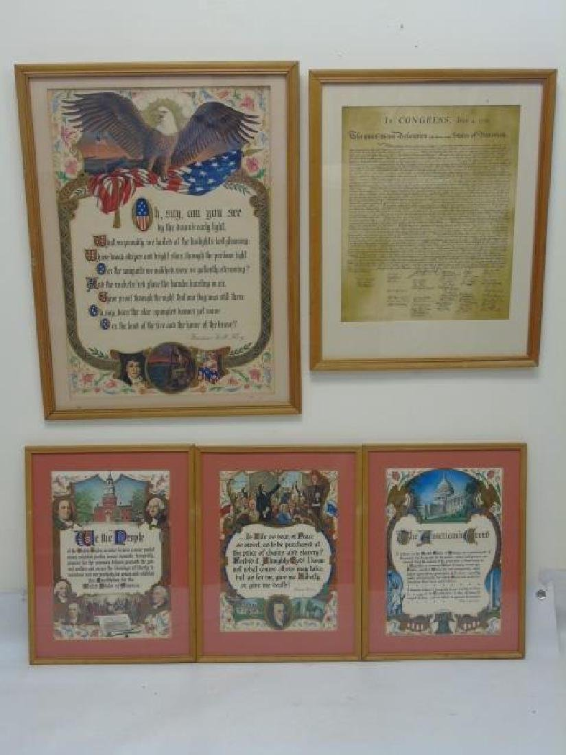 5 Patriotic American Framed Document Images