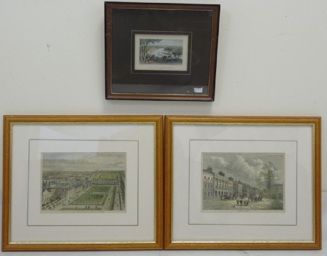 Pair Antique London Prints & Antique Surrey Print