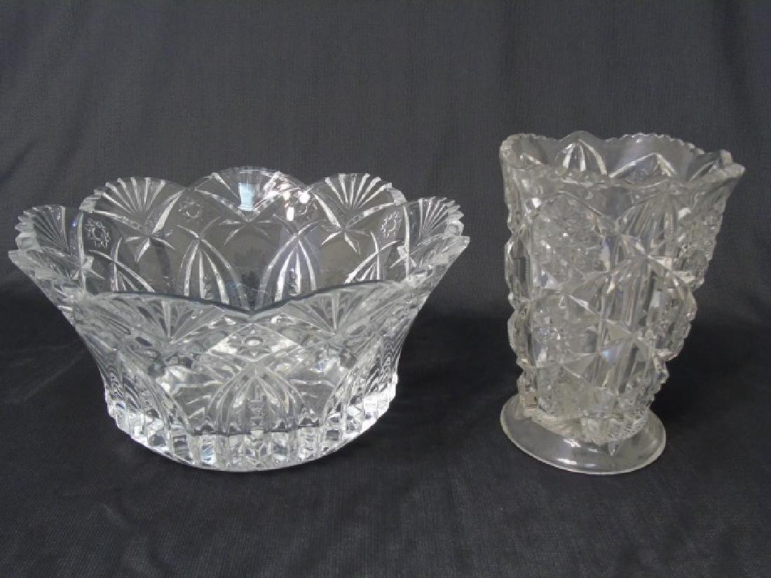 Two Cut Glass Pieces - Large Bowl & Vase