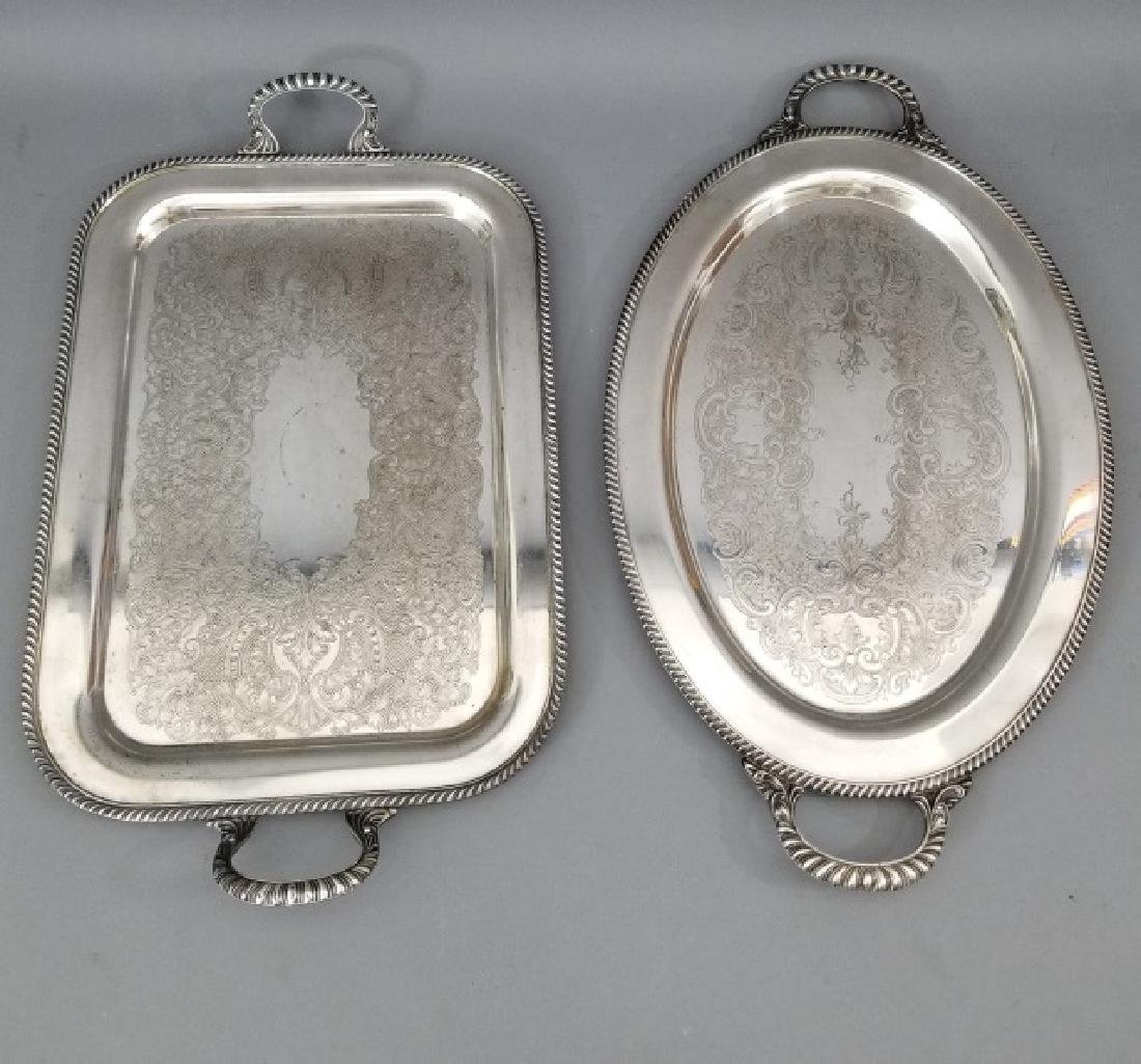 Two Large Silver Plate Serving Platters / Trays