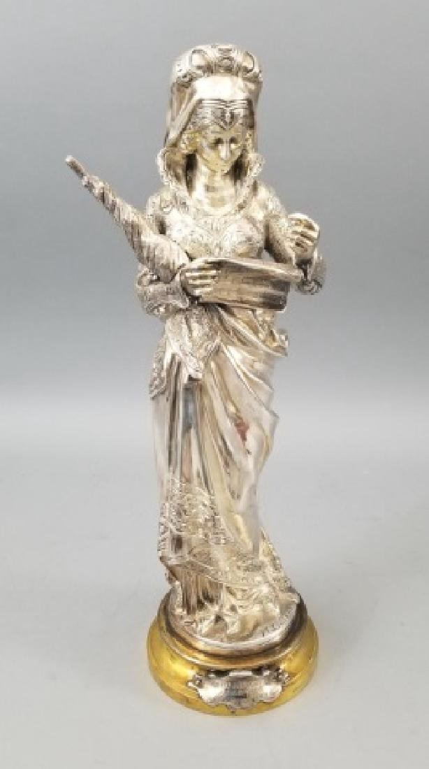 Antique 19th Cent M C Favre Silver Bronze Statue