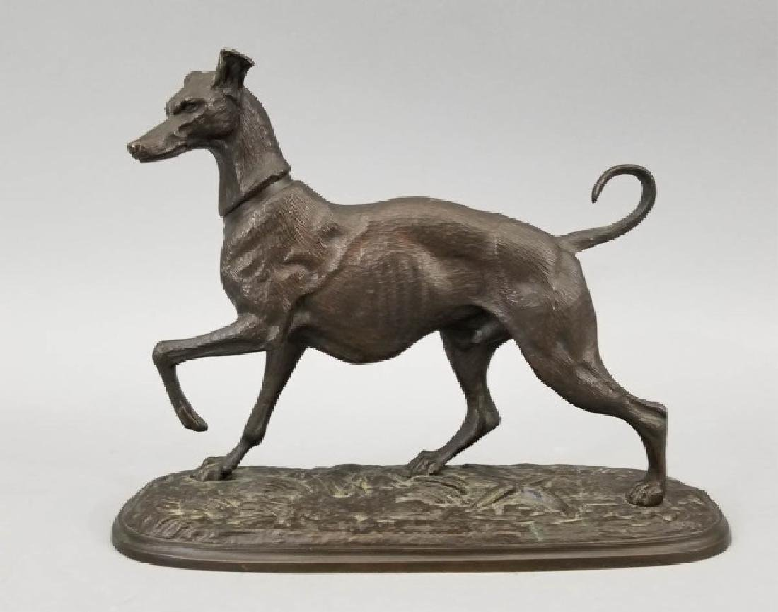 Signed Bronze Cast of Russian Whippet Dog