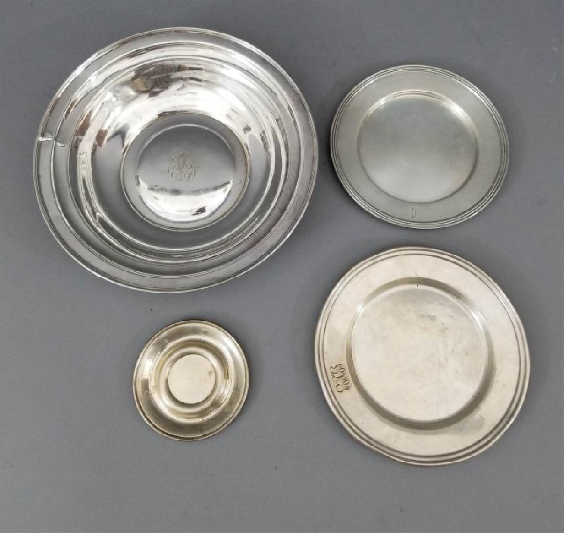 Four Assorted Sterling Silver Serving Plates
