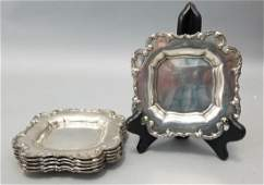 Set of Six Sterling Silver Square Serving Plates