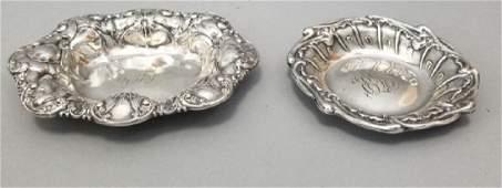 Two Antique Sterling Silver Art Nouveau Bowls