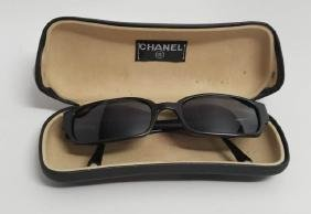 Chanel Black Frame Sunglasses In Original Case