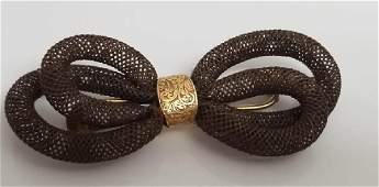Antique 19th C Victorian Gold Hair Mourning Brooch