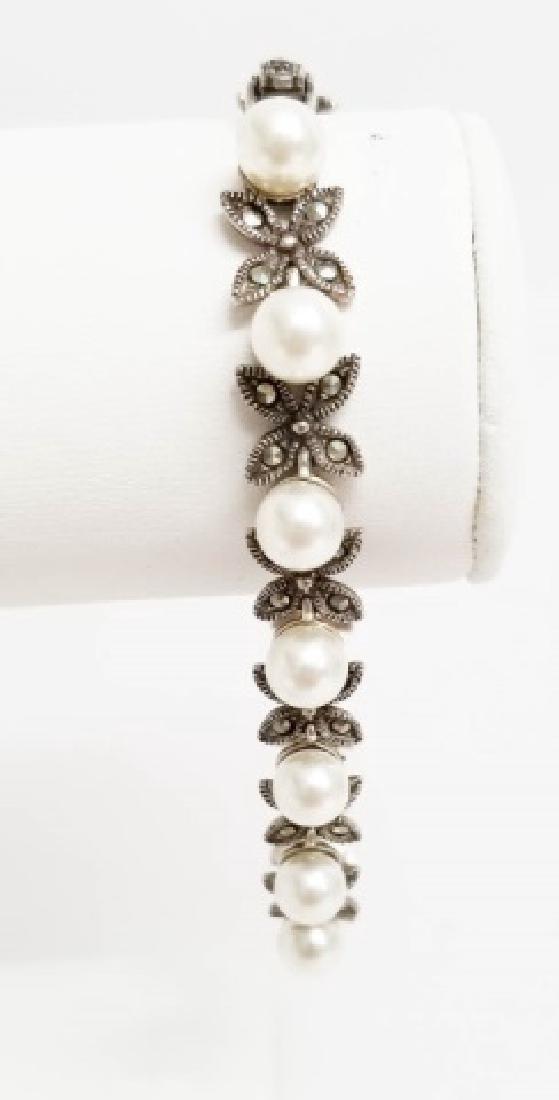 Estate Sterling Silver Marcasite Pearl Bracelet