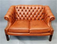 Chesterfield English Style Tufted Leather Sofa