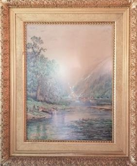 Edmund Lewis Important 19th C Watercolor Painting
