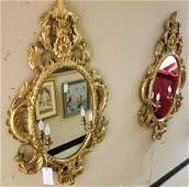 Pr Carved Italian Gold Leaf Wall Mirrors w Sconces