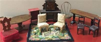 Antique Dollhouse Miniature Living Room Furniture