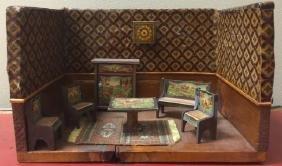 Antique Flora Gill Jacobs Dollhouse Room Box