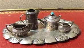 Antique Dollhouse Miniature Sterling Tea Service