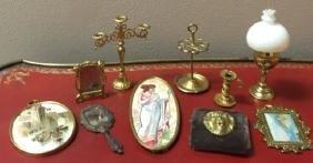 Antique Dollhouse Miniature Ormolu Accessory Items