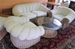 Wicker Furniture - Sofa, Armchairs, Ottoman, Table