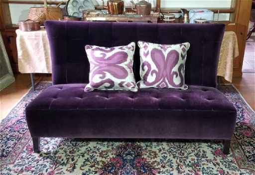Custom Made Design Plum Mohair Velvet Sofa