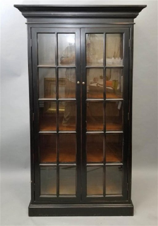 Enjoyable Tall Black Wood Curio Cabinet W 2 Glass Doors Home Interior And Landscaping Analalmasignezvosmurscom