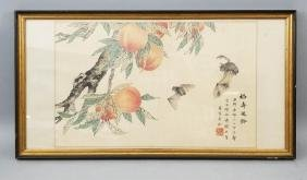 Chinese Framed Watercolor Of Peaches & Bats