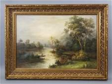 H Geeson Painting on Canvas Riverscape with Boat