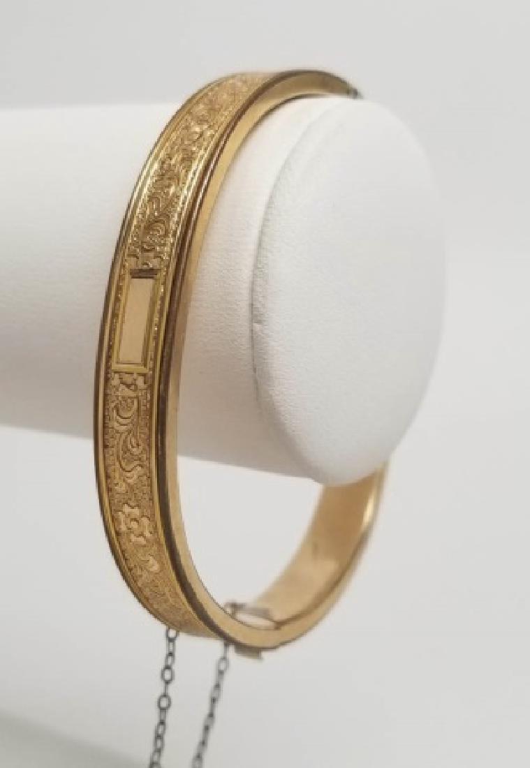 Estate Victorian Motif Gold Filled Bangle Bracelet