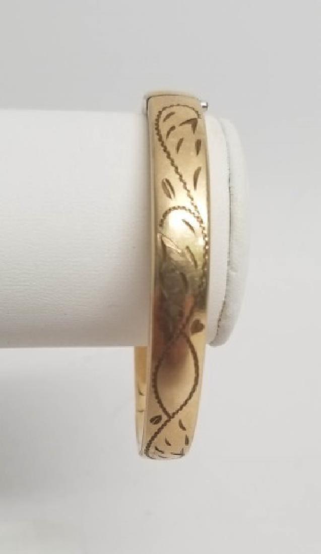 Estate Vintage Scrollwork Gold Bangle Bracelet