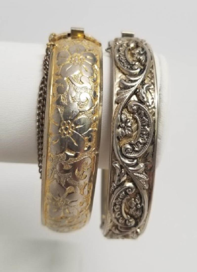 Two Estate / Vintage Gold & Silver Tone Bangles