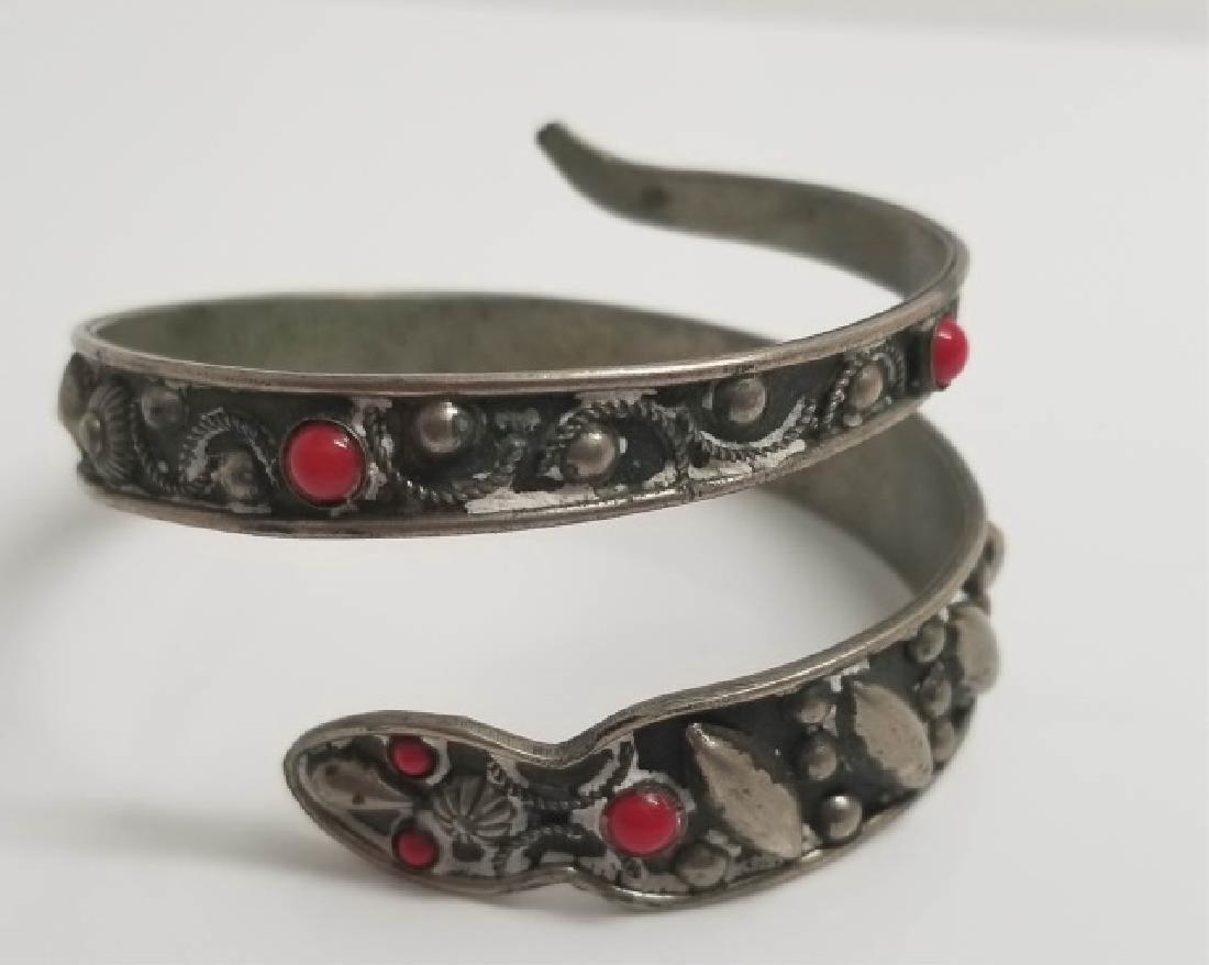 Vintage Filigree Cabochon Set Snake Bracelet
