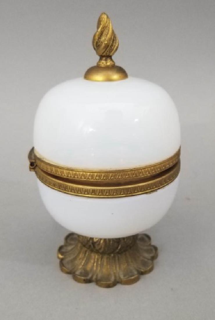 Antique French Opaline Glass & Ormolu Jewelry Box