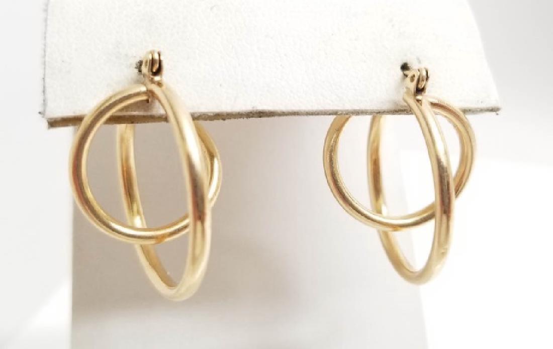 Estate Retro 14kt Yellow Gold Spiral Hoop Earrings