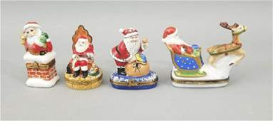 Signed French Limoges Porcelain Christmas Boxes