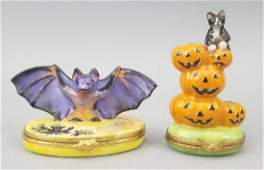 Signed French Limoges Porcelain Halloween Boxes