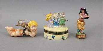 Three Signed French Limoges Porcelain Boxes