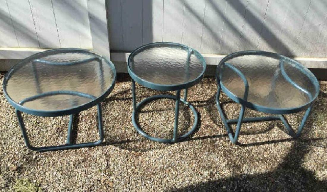 Three Brown Jordan Glass Top Round Tables