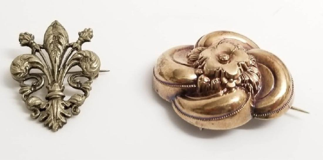 Antique Victorian Gold Silver Brooch & French Pin