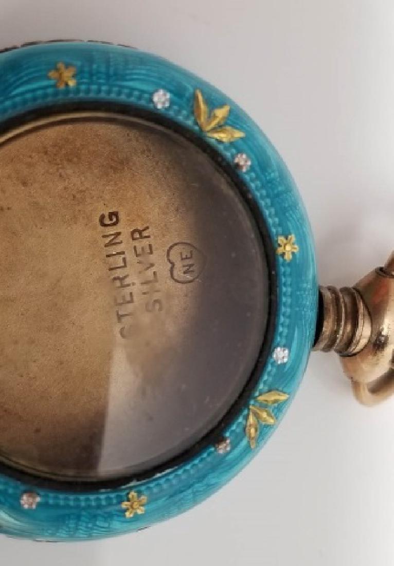 Antique Vermeil Sterling Enamel Pocket Watch Case - 3