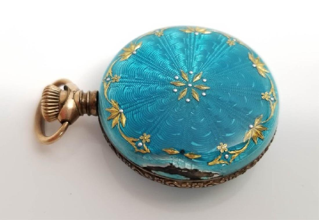 Antique Vermeil Sterling Enamel Pocket Watch Case - 5