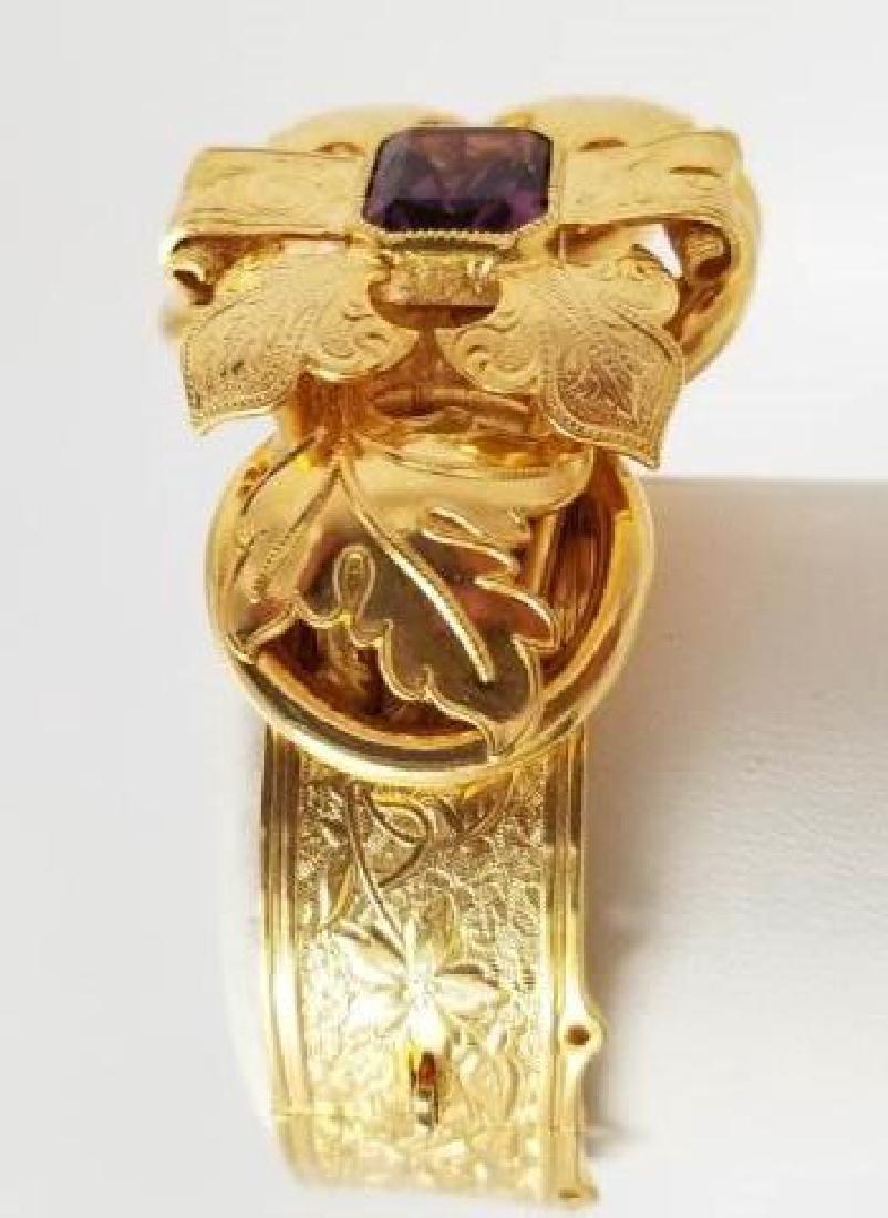 Victorian Style Gold Fill Amethyst Glass Bracelet