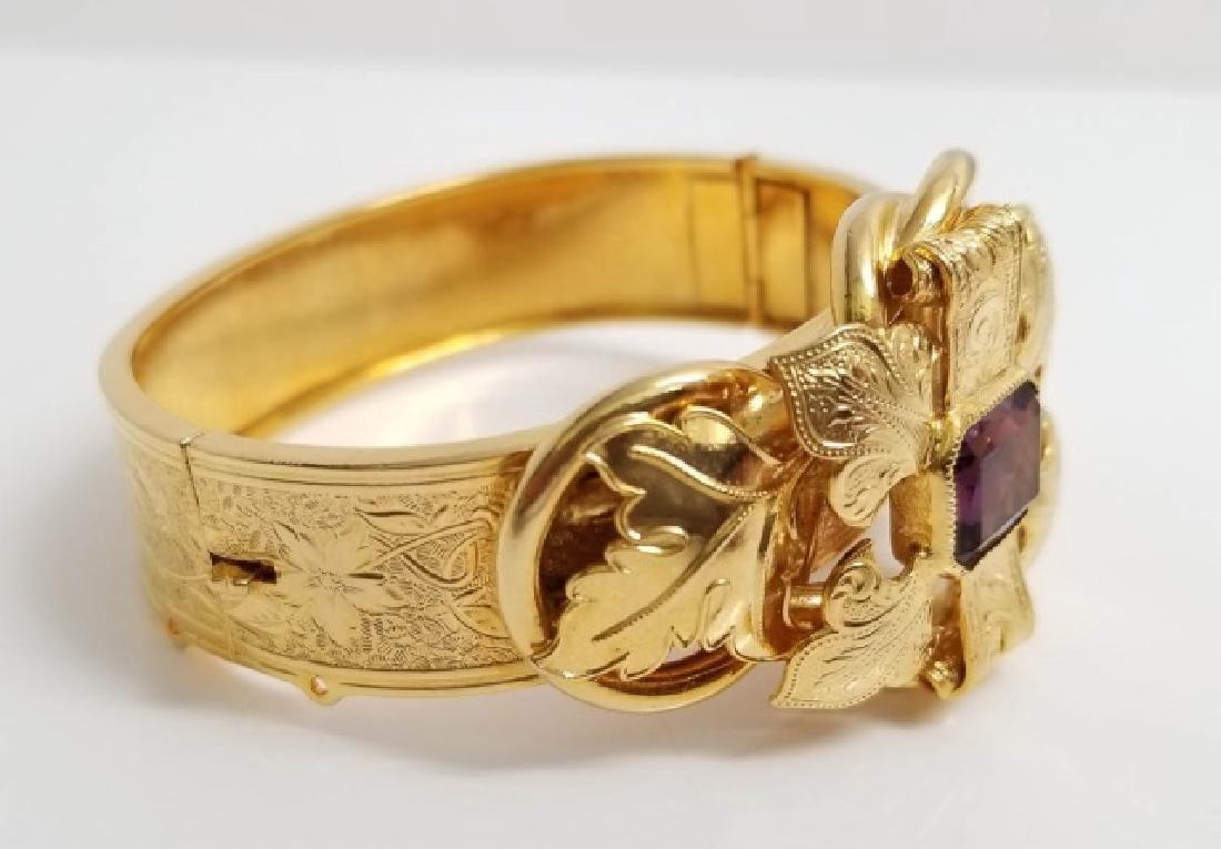 Victorian Style Gold Fill Amethyst Glass Bracelet - 2