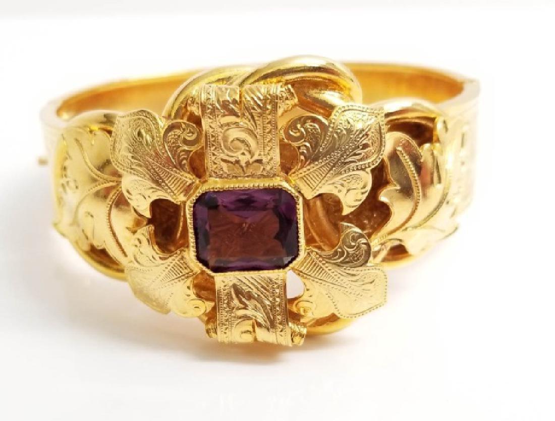 Victorian Style Gold Fill Amethyst Glass Bracelet - 3