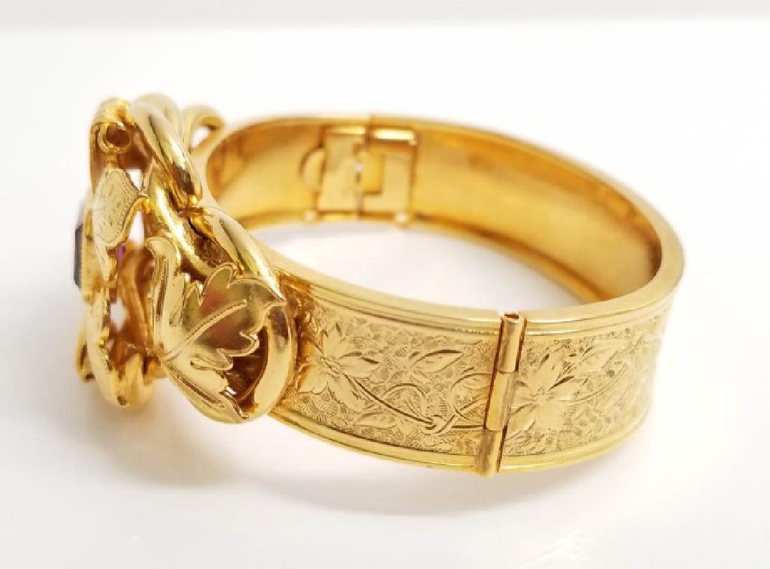 Victorian Style Gold Fill Amethyst Glass Bracelet - 4