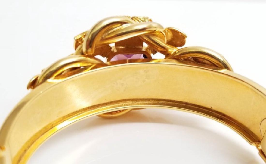 Victorian Style Gold Fill Amethyst Glass Bracelet - 5