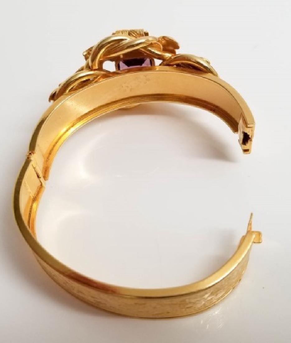 Victorian Style Gold Fill Amethyst Glass Bracelet - 6