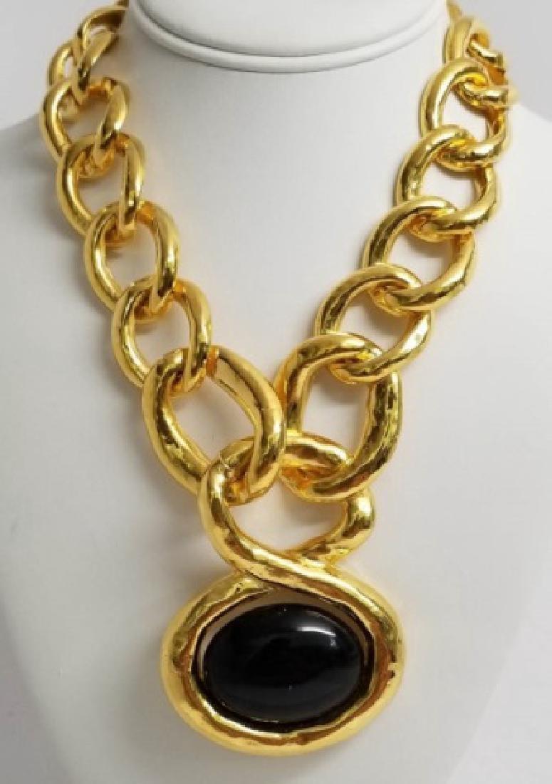 Vintage Les Bernard Gilt Metal Statement Necklace