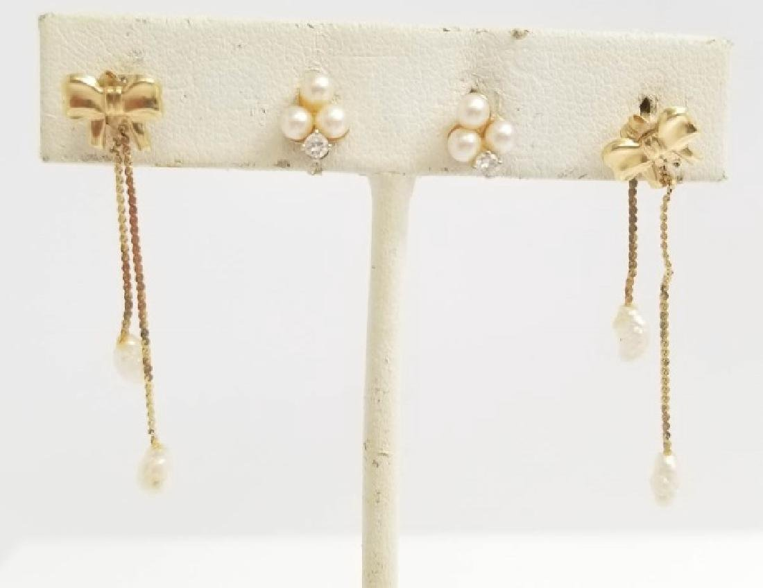 Estate Two Pairs 14kt Gold Diamond Pearl Earrings