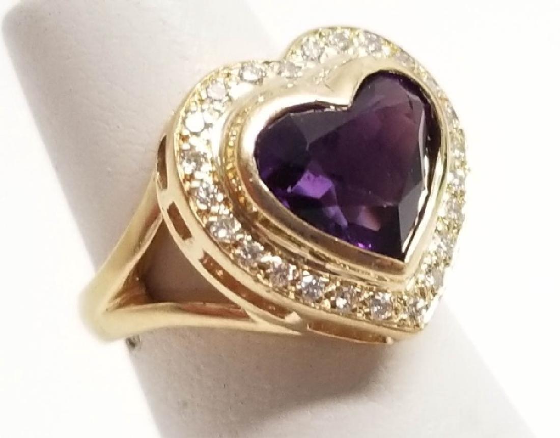 Estate 14k Yellow Gold Diamond Amethyst Heart Ring