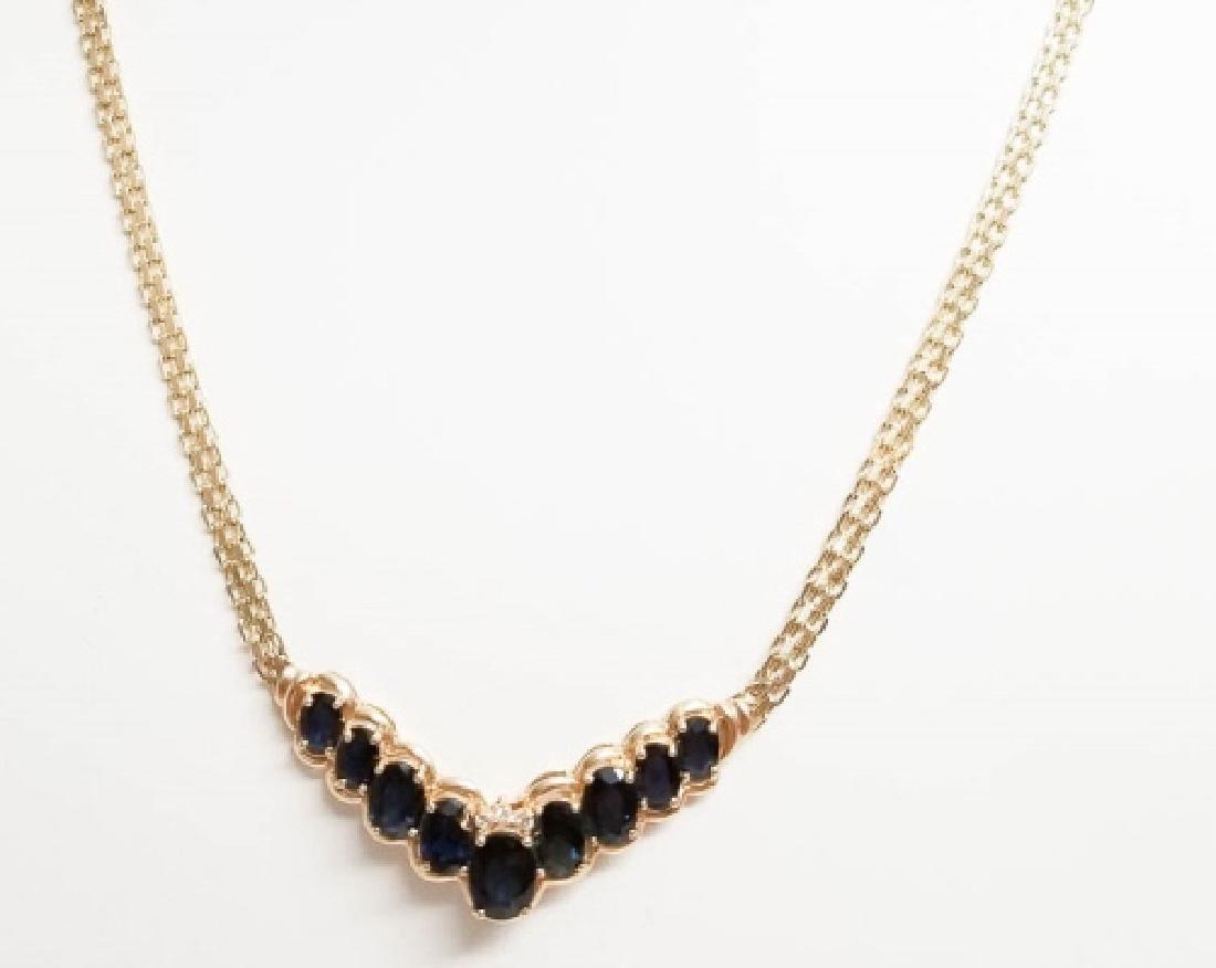 Estate 14k Yellow Gold Diamond & Amethyst Necklace