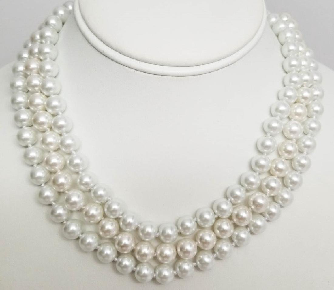 Three High Luster Akoya Pearl Style Necklaces