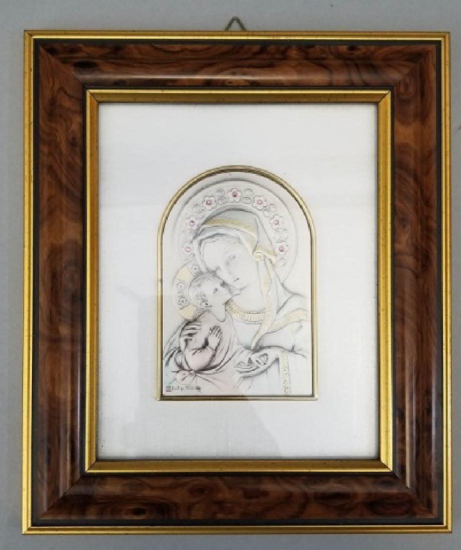 Burl Framed Sterling Silver Madonna & Child Icon